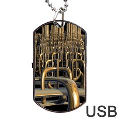 Fractal Image Of Copper Pipes Dog Tag Usb Flash (one Side) by Amaryn4rt