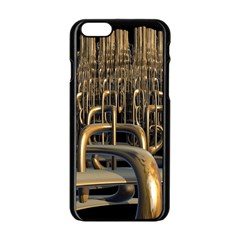 Fractal Image Of Copper Pipes Apple Iphone 6/6s Black Enamel Case by Amaryn4rt