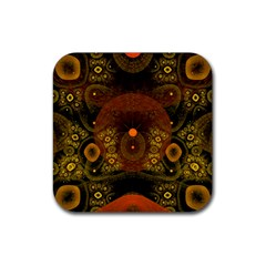Fractal Yellow Design On Black Rubber Coaster (square)  by Amaryn4rt