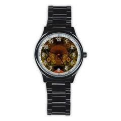 Fractal Yellow Design On Black Stainless Steel Round Watch
