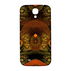 Fractal Yellow Design On Black Samsung Galaxy S4 I9500/i9505  Hardshell Back Case by Amaryn4rt