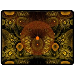 Fractal Yellow Design On Black Double Sided Fleece Blanket (large)  by Amaryn4rt