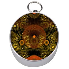 Fractal Yellow Design On Black Silver Compasses by Amaryn4rt