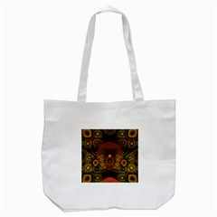 Fractal Yellow Design On Black Tote Bag (white) by Amaryn4rt
