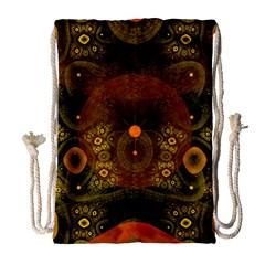 Fractal Yellow Design On Black Drawstring Bag (large) by Amaryn4rt