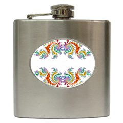 Fractal Kaleidoscope Of A Dragon Head Hip Flask (6 Oz) by Amaryn4rt