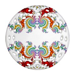 Fractal Kaleidoscope Of A Dragon Head Round Filigree Ornament (two Sides) by Amaryn4rt