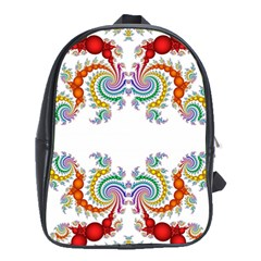 Fractal Kaleidoscope Of A Dragon Head School Bags (xl)  by Amaryn4rt