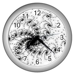Fractal Black Spiral On White Wall Clocks (silver)  by Amaryn4rt