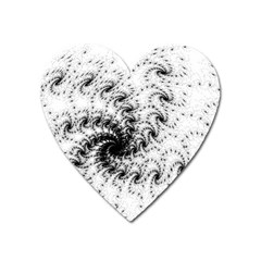 Fractal Black Spiral On White Heart Magnet by Amaryn4rt