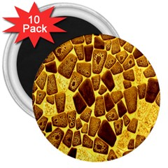 Yellow Cast Background 3  Magnets (10 Pack)  by Amaryn4rt
