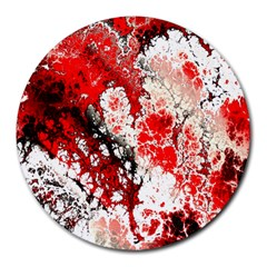 Red Fractal Art Round Mousepads by Amaryn4rt