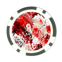 Red Fractal Art Poker Chip Card Guard by Amaryn4rt