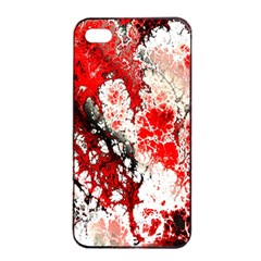 Red Fractal Art Apple Iphone 4/4s Seamless Case (black) by Amaryn4rt