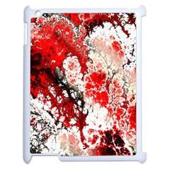 Red Fractal Art Apple Ipad 2 Case (white) by Amaryn4rt
