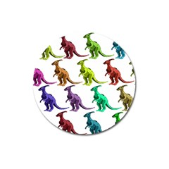 Multicolor Dinosaur Background Magnet 3  (round) by Amaryn4rt