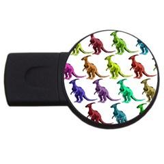 Multicolor Dinosaur Background Usb Flash Drive Round (4 Gb) by Amaryn4rt