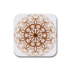 Golden Filigree Flake On White Rubber Coaster (square)  by Amaryn4rt