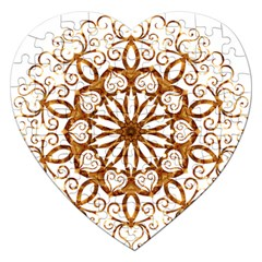 Golden Filigree Flake On White Jigsaw Puzzle (heart) by Amaryn4rt