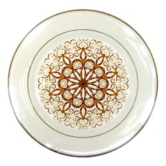 Golden Filigree Flake On White Porcelain Plates by Amaryn4rt