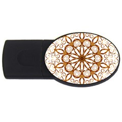 Golden Filigree Flake On White Usb Flash Drive Oval (4 Gb) by Amaryn4rt