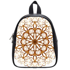 Golden Filigree Flake On White School Bags (small)  by Amaryn4rt