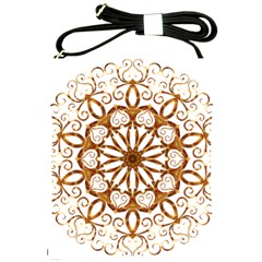 Golden Filigree Flake On White Shoulder Sling Bags by Amaryn4rt