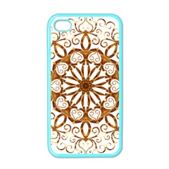 Golden Filigree Flake On White Apple Iphone 4 Case (color) by Amaryn4rt