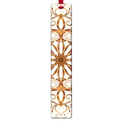 Golden Filigree Flake On White Large Book Marks by Amaryn4rt