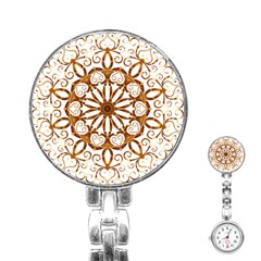 Golden Filigree Flake On White Stainless Steel Nurses Watch