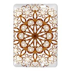 Golden Filigree Flake On White Kindle Fire Hdx 8 9  Hardshell Case by Amaryn4rt