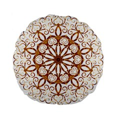 Golden Filigree Flake On White Standard 15  Premium Flano Round Cushions by Amaryn4rt