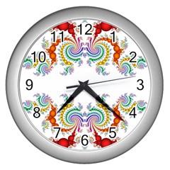 Fractal Kaleidoscope Of A Dragon Head Wall Clocks (silver)  by Amaryn4rt