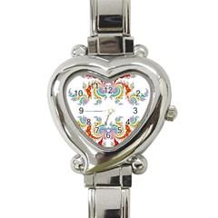 Fractal Kaleidoscope Of A Dragon Head Heart Italian Charm Watch by Amaryn4rt