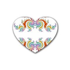 Fractal Kaleidoscope Of A Dragon Head Heart Coaster (4 Pack)  by Amaryn4rt