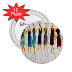 Fashion Sketch  2 25  Buttons (10 Pack)  by Valentinaart