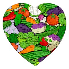 Vegetables  Jigsaw Puzzle (Heart) by Valentinaart