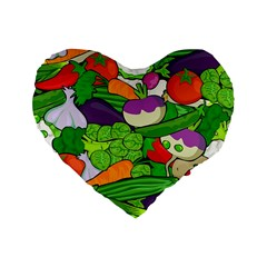 Vegetables  Standard 16  Premium Flano Heart Shape Cushions by Valentinaart