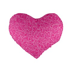 Pink Pattern Standard 16  Premium Heart Shape Cushions by Valentinaart