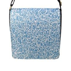 Blue Pattern Flap Messenger Bag (l)  by Valentinaart