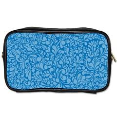 Blue Pattern Toiletries Bags 2 Side by Valentinaart