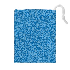 Blue Pattern Drawstring Pouches (extra Large) by Valentinaart