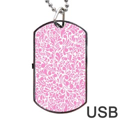 Pink Pattern Dog Tag Usb Flash (one Side) by Valentinaart