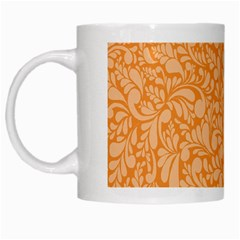 Orange Pattern White Mugs by Valentinaart