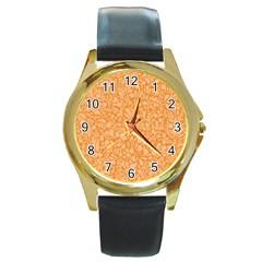 Orange Pattern Round Gold Metal Watch by Valentinaart