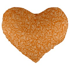 Orange Pattern Large 19  Premium Heart Shape Cushions by Valentinaart