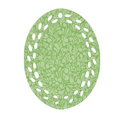 Green Pattern Oval Filigree Ornament (two Sides) by Valentinaart