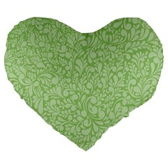 Green Pattern Large 19  Premium Heart Shape Cushions by Valentinaart