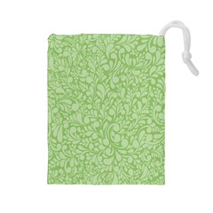 Green Pattern Drawstring Pouches (large)  by Valentinaart