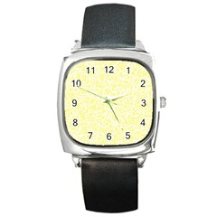 Yellow Pattern Square Metal Watch by Valentinaart